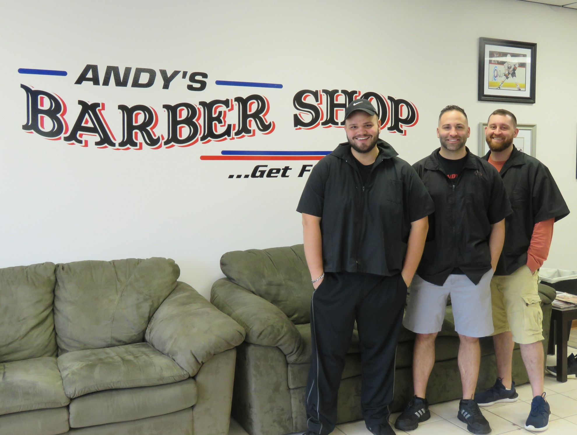 Pictured, from left, barbers Mitch Ross, Andy Ranaletti and Thomas Dullen. (Photos by David Yarger)